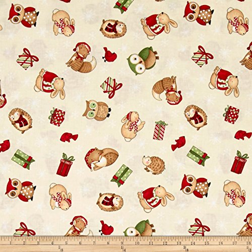 Wilmington Prints Debbie Mumm Santa and Friends Ivory Tossed Critters