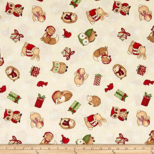 Debbie Mumm Cotton Fabric - Wilmington Prints Debbie Mumm Santa and Friends Ivory Tossed Critters