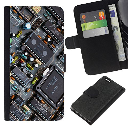 Funny Phone Case // Cuir Portefeuille Housse de protection Étui Leather Wallet Protective Case pour Apple Iphone 5C /PCB Chipset Transistors/