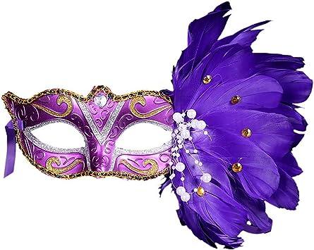 CHshe®-🍒-Máscara de Plumas de Halloween, Máscara de Disfraces ...