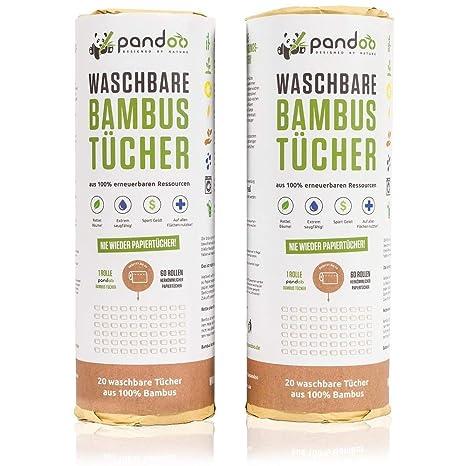 Pandoo Rollo de cocina 100% bambú - Toallas lavables para el hogar