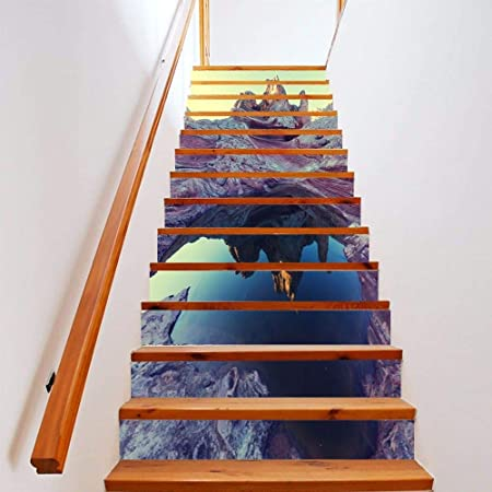Kang Vinilo Pegatina Decorativa Infantil Adhesiva para Pared Pegatina dormitorios Creative 3D Escaleras Escalera 倒Diy Shanshui Cierre Autoadhesivo estanca.100X18cmx13Chip: Amazon.es: Hogar