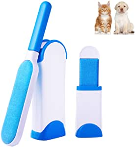 AlfaView Pet Hair Remover Brush, Double Sided Reusable Fur/Lint Remover Roller Brush with Self-Cleaning Case, for Dogs,Cats,Clothes & Furniture (Straight Hair Remover)