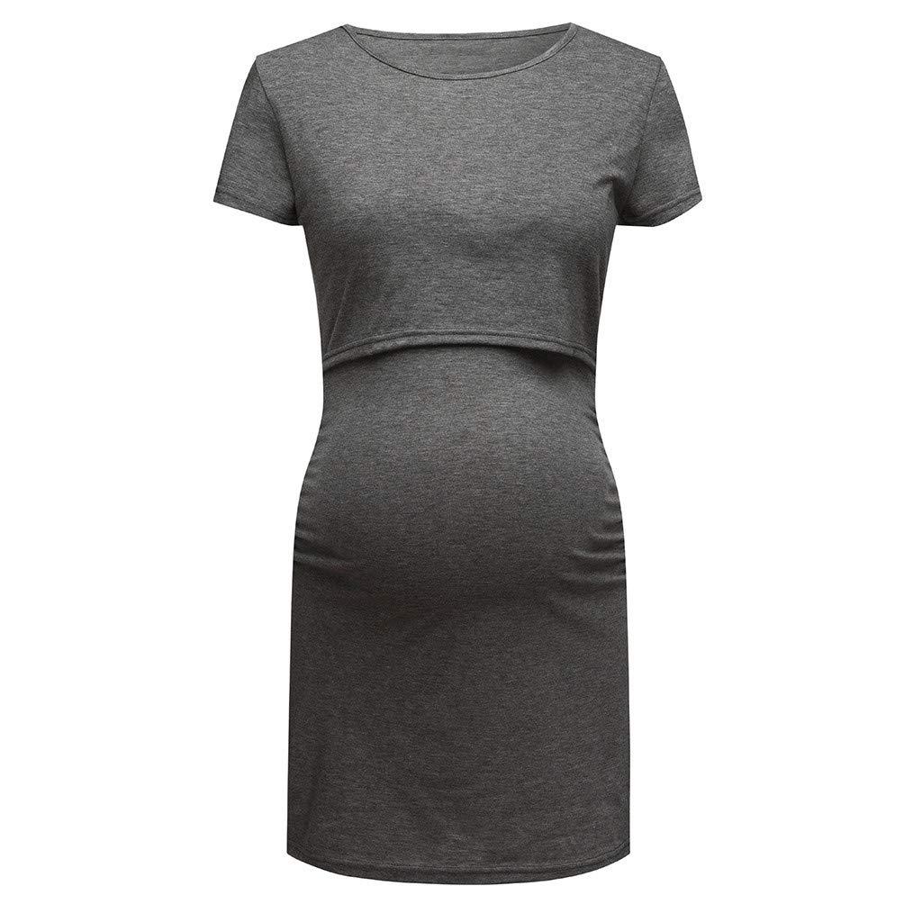Salaks Women Maternity Dress Nursing Casual Solid Short Sleeve Breastfeeding Stretchy Knee Lengh Dress