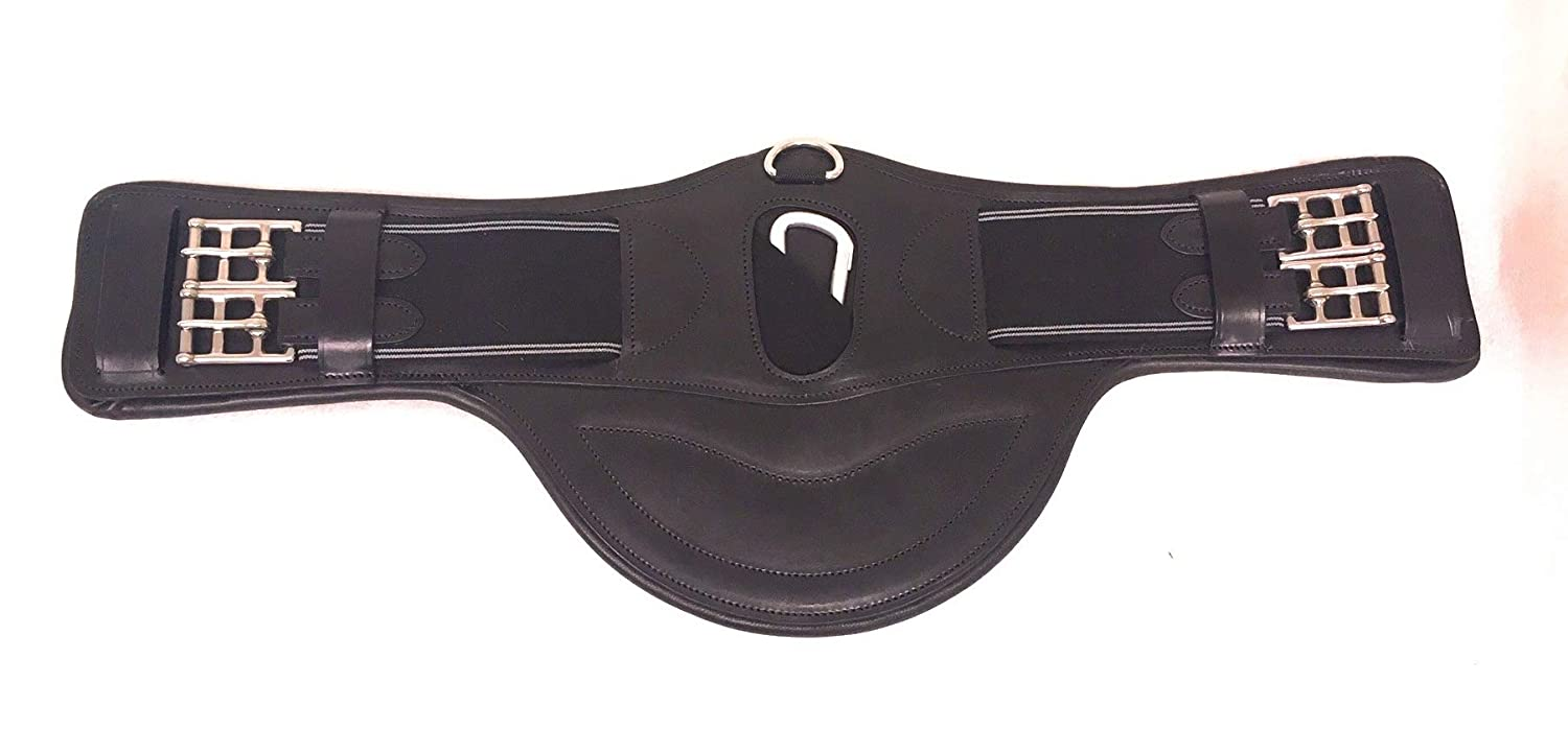 Cwell Equine Wide Belly Dressage Leather Elasticated Girth Black 60 cms