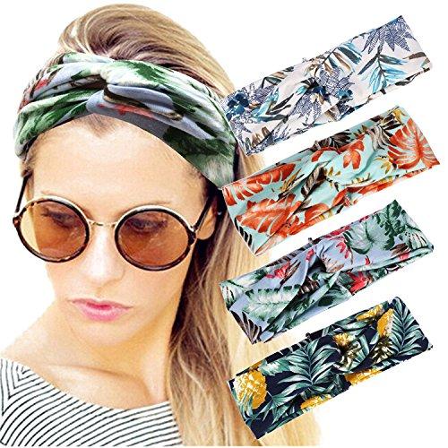Amoretu 4 Pack Women Headbands Elastic Fashion Tropical Turban Twisted Hair Headband