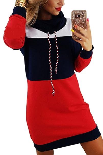 Honghu Mujer Casual Manga Larga Cuello Redondo Hals con Capucha Sudadera para Mujer Slim Fit Freizeit Vestido