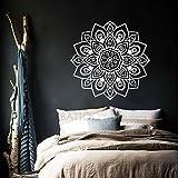 BATTOO Mandala Wall Decal Namaste Flower Mandala Indian Lotus Yoga Wall Decals Vinyl Sticker Interior Home Decor Art Bedroom Wall Decor(white, 22'' WX22 H)
