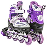Adjustable Inline Skates for Kids With Illuminating Front Wheels Durable Comfortable Rollerblades Outdoors Purple Large 6-9 Sizes 885