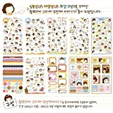 SPHTOEO 20 Sheets MOMOI Diary Decoration Sticker Scrapbooking Craft Sticker in Tin Case