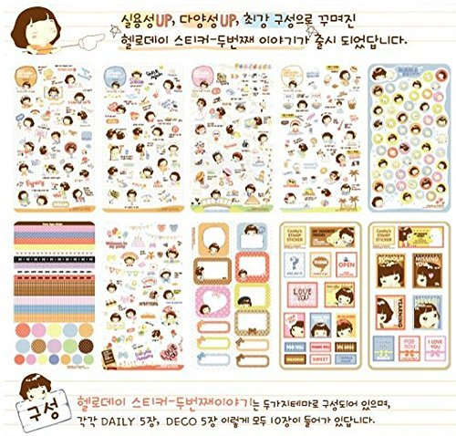 SPHTOEO 20 Sheets MOMOI Diary Decoration Sticker Scrapbooking Craft Sticker in Tin Case
