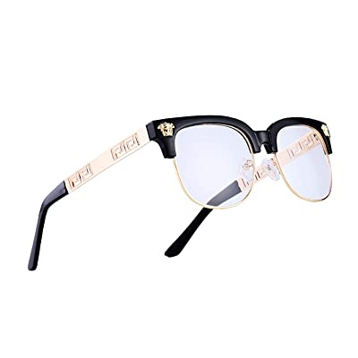 VITRU Medusa - Retro Rivet Sunglasses (Black x Clear), Black, Size Standard: Shoes