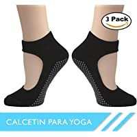 TECNOSERVAN Calcetines Antideslizantes Algodón Respisable, Calcetines Invisibles para Yoga, Baila, Fitness, Ejercicios, Talla Universal Adecuado para Hombres y Mujeres (3 Pares)