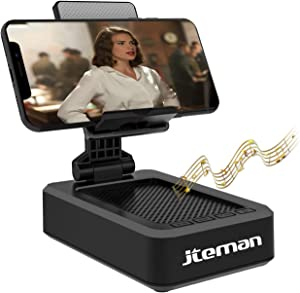 Cell Phone Stand with Wireless Bluetooth Speaker andAnti-Slip Base HD Surround Sound Perfect for Home and Outdoors with Bluetooth Speaker for Desk Compatible with iPhone/ipd/Samsung Galaxy