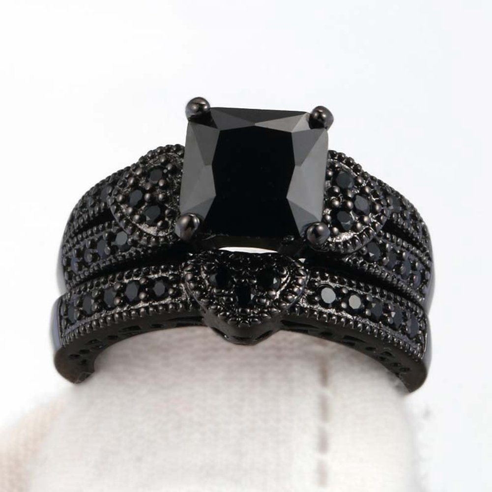 Gy Jewelry Couple Ring His Hers Women Black Gold Filled Cz Men Stainless Steel Bridal Sets Wedding Band by Gy Jewelry (Image #9)
