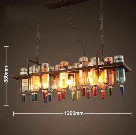 SZXC Nórdico Lámpara retro de viento industrial Color Botella de vidrio Barra Lámpara de araña Tienda