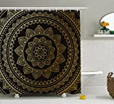 Ambesonne Mandala Shower Curtain, Eastern Tribe Themed Circular Flower Ornamental Meditation Symbol, Fabric Bathroom Decor Set with Hooks, 84 inches Extra Long, Dark Pine Green and Mustard