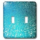 3dRose (lsp_267050_2) Double Toggle Switch (2) Sparkling Luxury Elegant Aqua Teal Blue Faux Glitter Effect Artprint