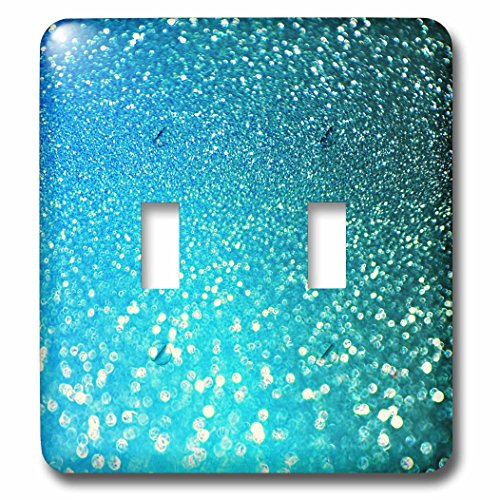 3dRose (lsp_267050_2) Double Toggle Switch (2) Sparkling Luxury Elegant Aqua Teal Blue Faux Glitter Effect Artprint by 3dRose (Image #1)