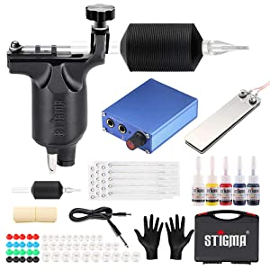 STIGMA Complete Tattoo Kit Pro Tattoo Machine Kit Rotary Tattoo Machine Power Supply Color Inks with Case MK648 (Black)