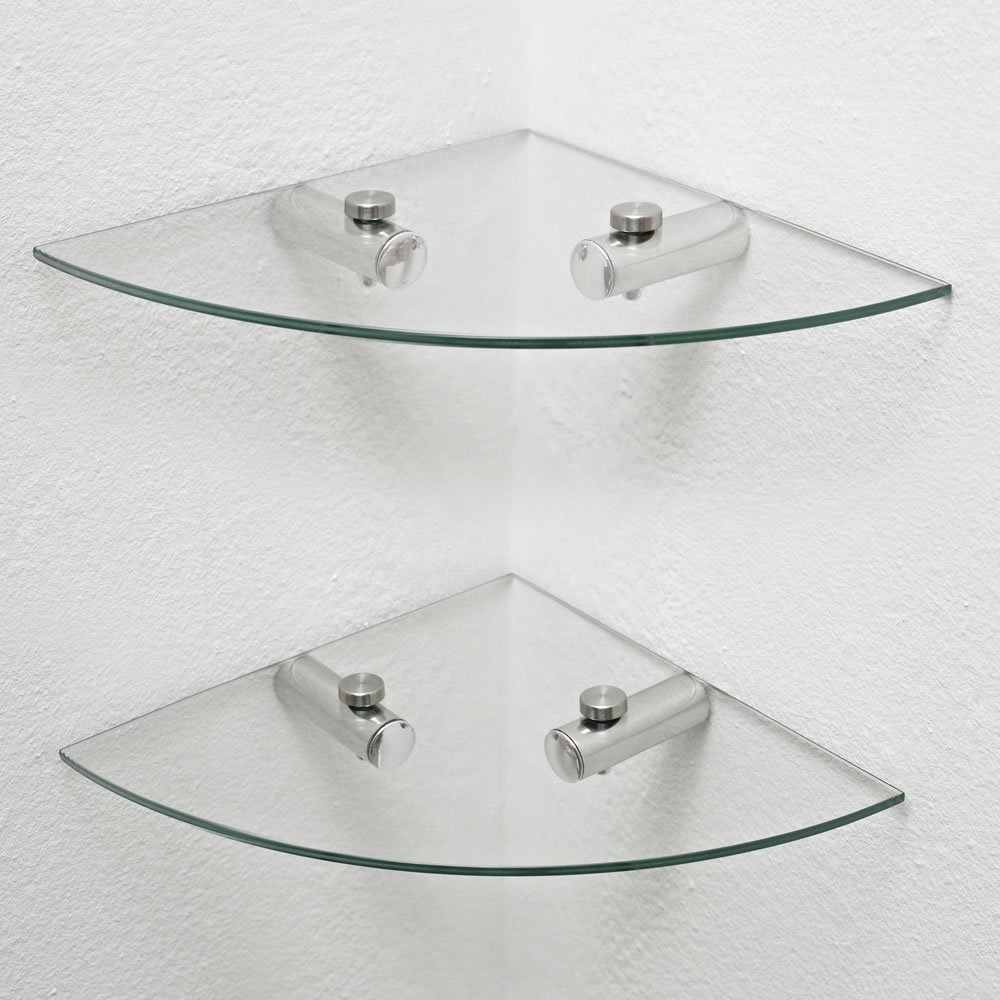 2 X Glass Corner Shelves, Bathroom Shelves, Kitchen Shelves, Storage