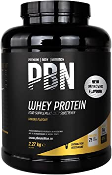 PBN Premium Body Nutrition Proteína de suero de leche en polvo, 2,27 kg, sabor plátano, sabor optimizado