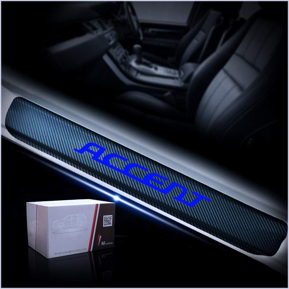 for Hyundai Accent Door Sill Protector Reflective 4D Carbon Fiber Sticker Door Entry Guard Door Sill Scuff Plate Stickers Auto Accessories 4Pcs Blue