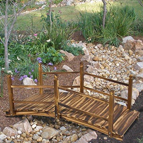 Wooden Bridge 5' Stained Finish Decorative Solid Wood Garden Pond Bridge ()