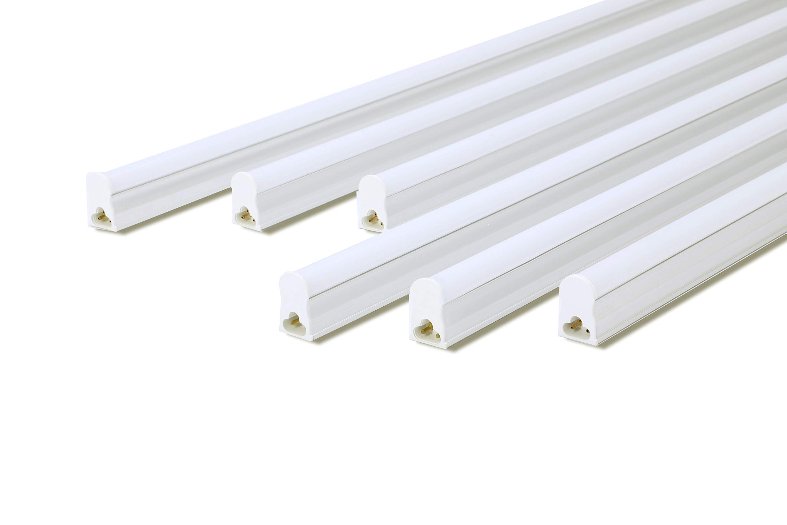 LED T5 Integrated Single Fixture, 4FT 2000LM(Super Bright), 6500K (Cool White), 18W LED Tube Light, 36W Fluorescent Replacement,for Warehouse,Garage, Corded Electric with Built-in ON/OFF Switch,6 Pack