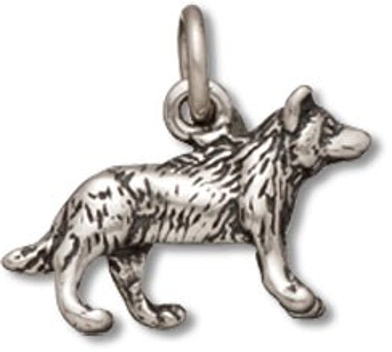 Sterling Silver 7 4.5mm Charm Bracelet With Attached 3D Small Wolf Or Pet Dog Charm