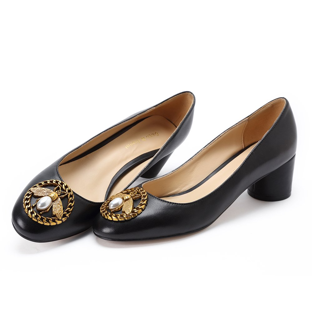 98901abc2e Amazon.com | Darco & Gianni Women's Round Closed Toe Chunky Block Mid Heel  Pump Bee Buckle Black Patent Office Work Dress Shoes | Pumps