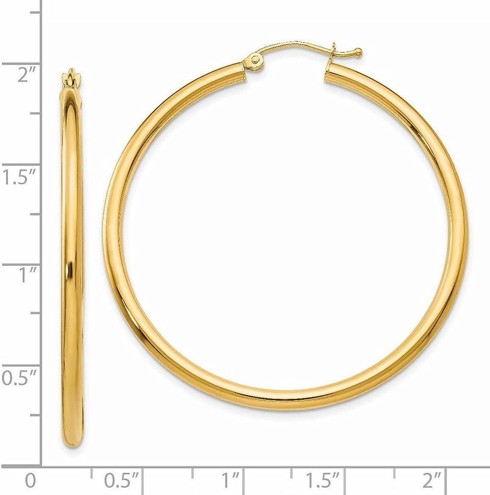 Mia Diamonds 14k Yellow Gold Polished 2.5mm Round Hoop Earrings