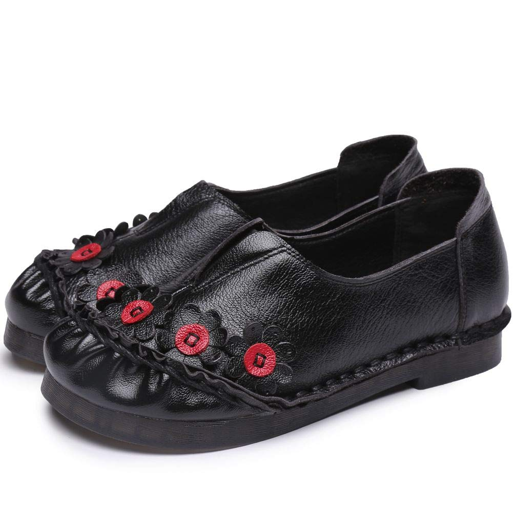 DoraTasia Womens Soft Leather Vintage Floral Ethnic Slip-on Flats Loafers Casual Walking Shoes