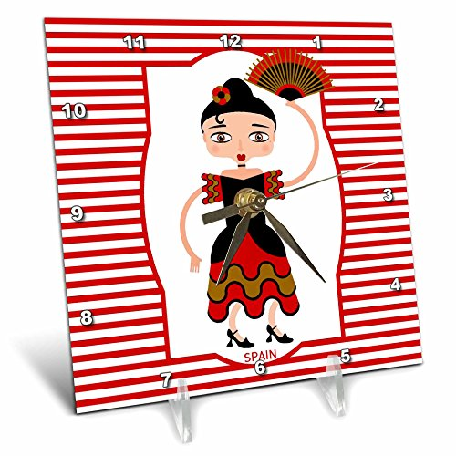 3dRose Spain is represented by a flamenco dancer,flamenco is spanish popular folk music Desk Clock, 6 by 6-Inch (dc_160621_1) by 3dRose