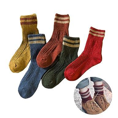 Morbuy Mujer Calcetines de Algodón, Set de Calcetín de 5 pares Otoño e invierno Suave Cómodo Elástico Deportes Socks: Amazon.es: Ropa y accesorios