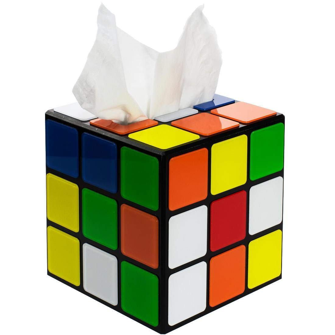 getDigital Magic Cube Tissue Box Cover Inspired by The Big Bang Theory - Decorative Holder for Square Tissue Boxes with a Secure Magnetic Lock - 5.5 x 5.5 x 5.5 inch