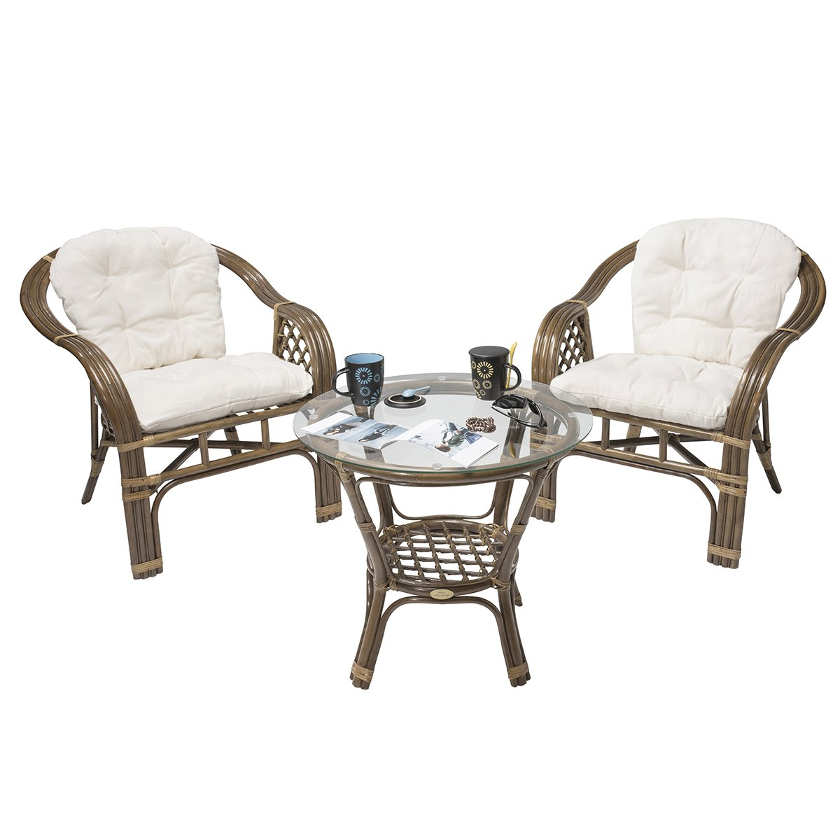 Weihnachten: -45% Rattan-Sitzgarnitur BALK Terrace - Rattan-Möbel-Set dreiteilig - Braun