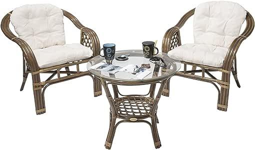 Rotin Design Rebajas : -46% Conjunto terraza de Ratan Balk Moderno y Barato: 2 sillones y 1 Mesa: Amazon.es: Hogar