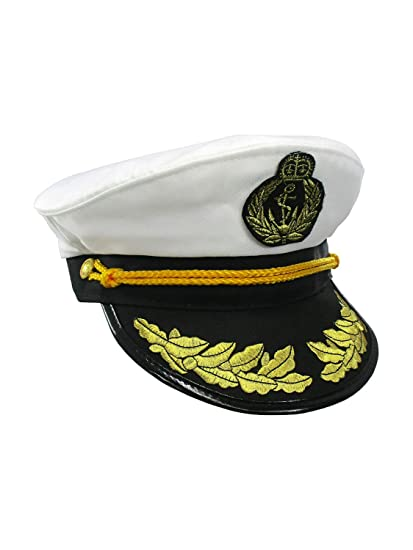 271ffbf8d886c Amazon.com  Nicky Bigs Novelties Yacht Captain Hat Sea Skipper White Navy Sailor  Cap Costume Boater Hat Party  Clothing
