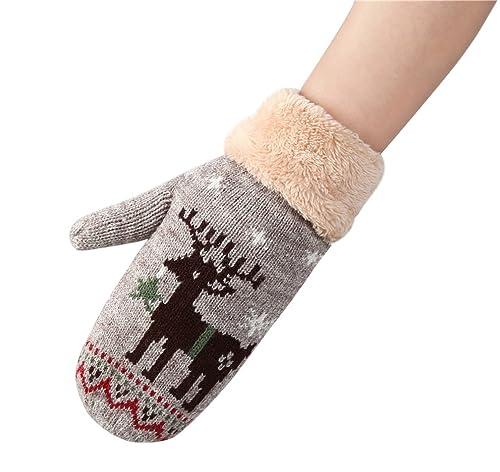 regalo de Navidad, Kfnire chica invierno guantes gruesos lindos mitones para exterior (camello)