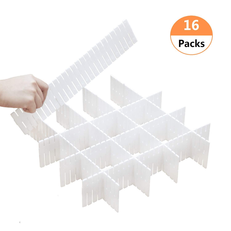 DIY Drawer Dividers 16 Packs Dresser Kitchen Office Organizer Accessories Underwear Tools Utensil Plastic Storage (White(16 Packs))