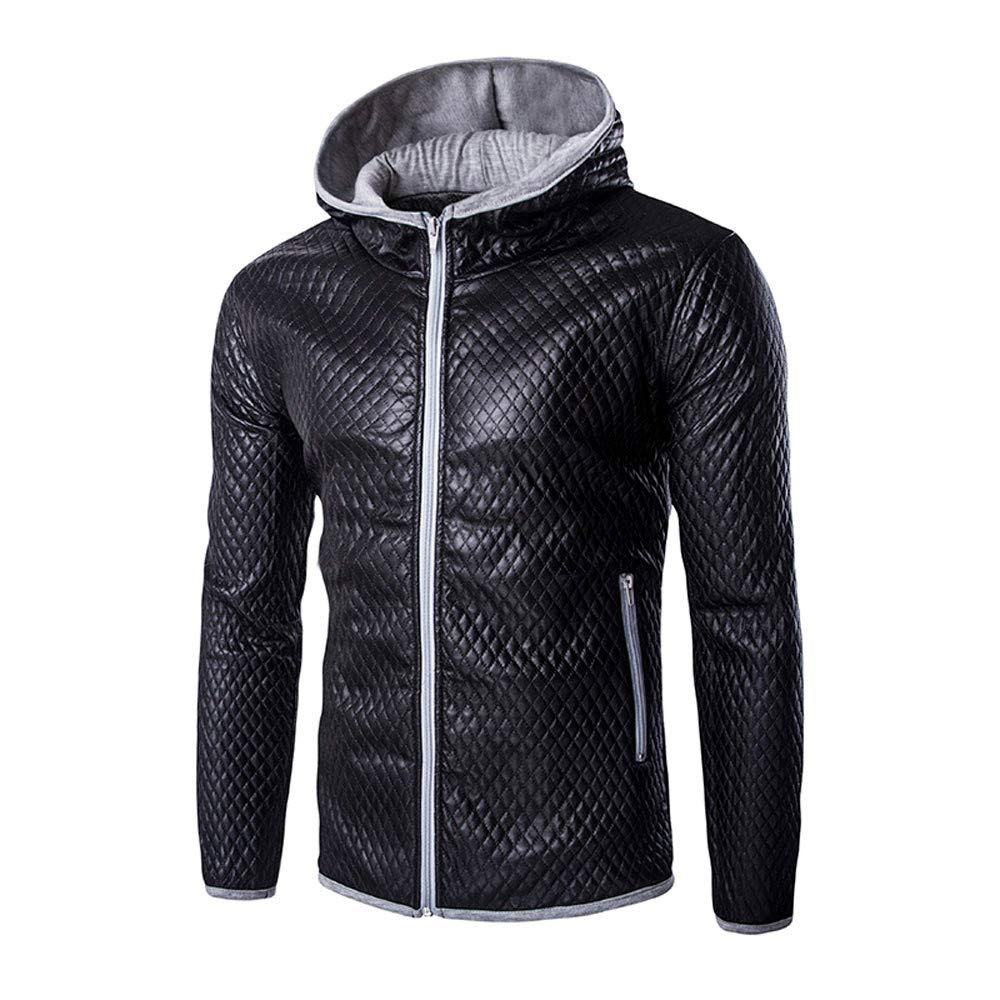 iLXHD Mens Faux Leather Jacket with Hood