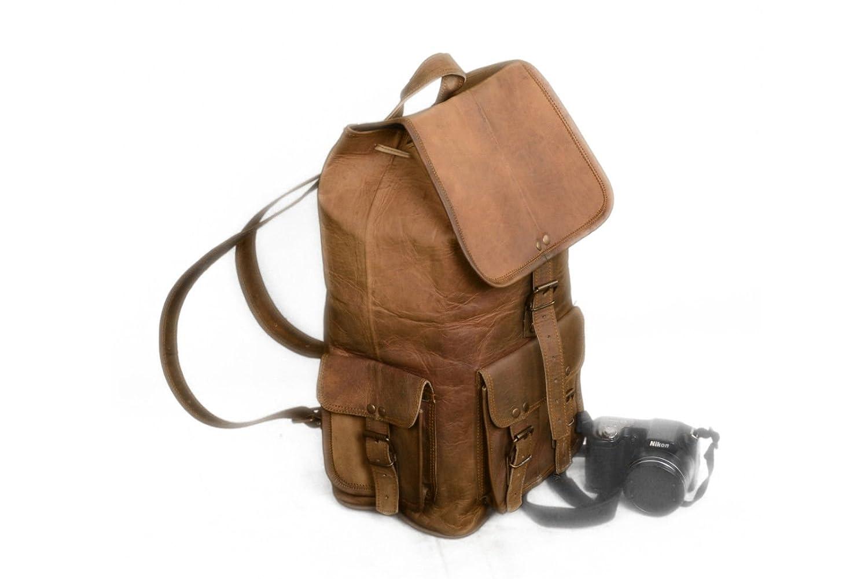 Vintage Leather Bazaar Real Goat Leather Sling Backpack Bag 18 Inch Brown