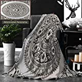 Unique Custom Double Sides Print Flannel Blankets Silver Lacquer Show Flower Art Balance Global Crafts Thai Artists Place In Chiang Super Soft Blanketry for Bed Couch, Throw Blanket 70 x 50 Inches