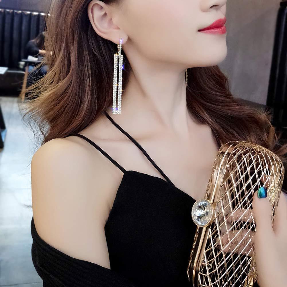 ink2055 Fashion Hollow Rectangular Rhinestone Dangle Pendant Huggie Earrings Party Jewelry