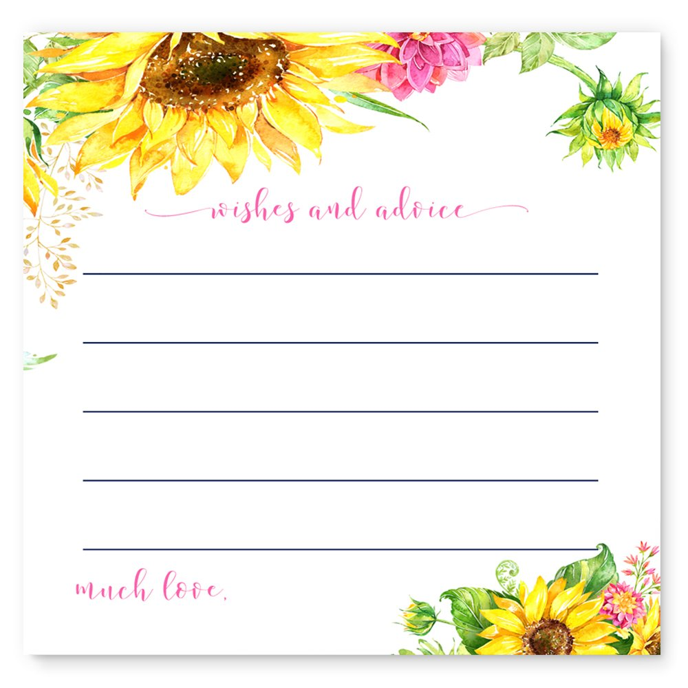 Bright Floral Sunflower Advice Cards Game Pack of 25