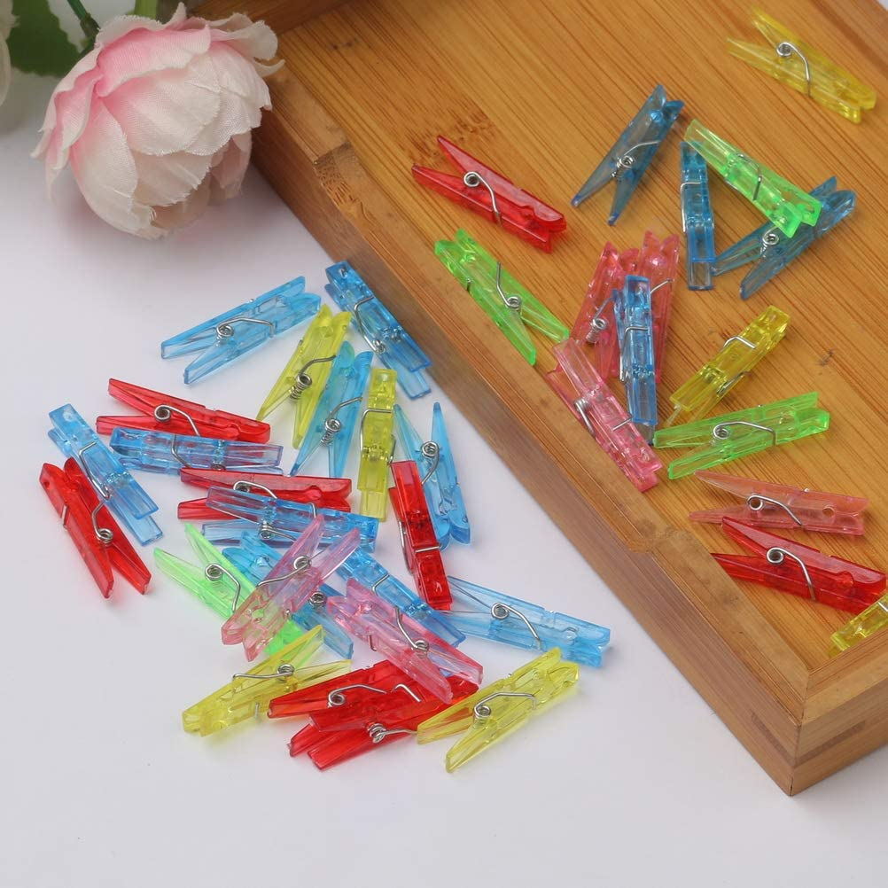 Mini Colored Plastic Clips Clear Clothespins Clip Clothes Line Clips Craft Decoration Clips for Crafts and Hanging Photos SUMAJU 70 Pcs Photo Clips