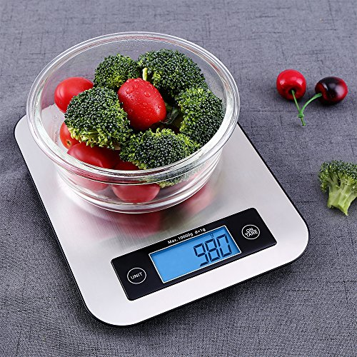 Digital Kitchen Scale Food Scales, TOBOX Postage Scale Multifunction Stainless Steel Accuracy with LCD Display and Tare Function for Baking and Cooking (Sliver) by TOBOX (Image #4)
