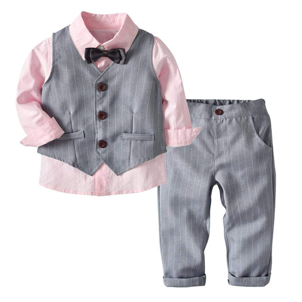 4PC Toddler Baby Boy Rompers Gentleman Suit with Bowtie Fake Vest Pants Wedding Suit Cloth Sets (120, Pink)