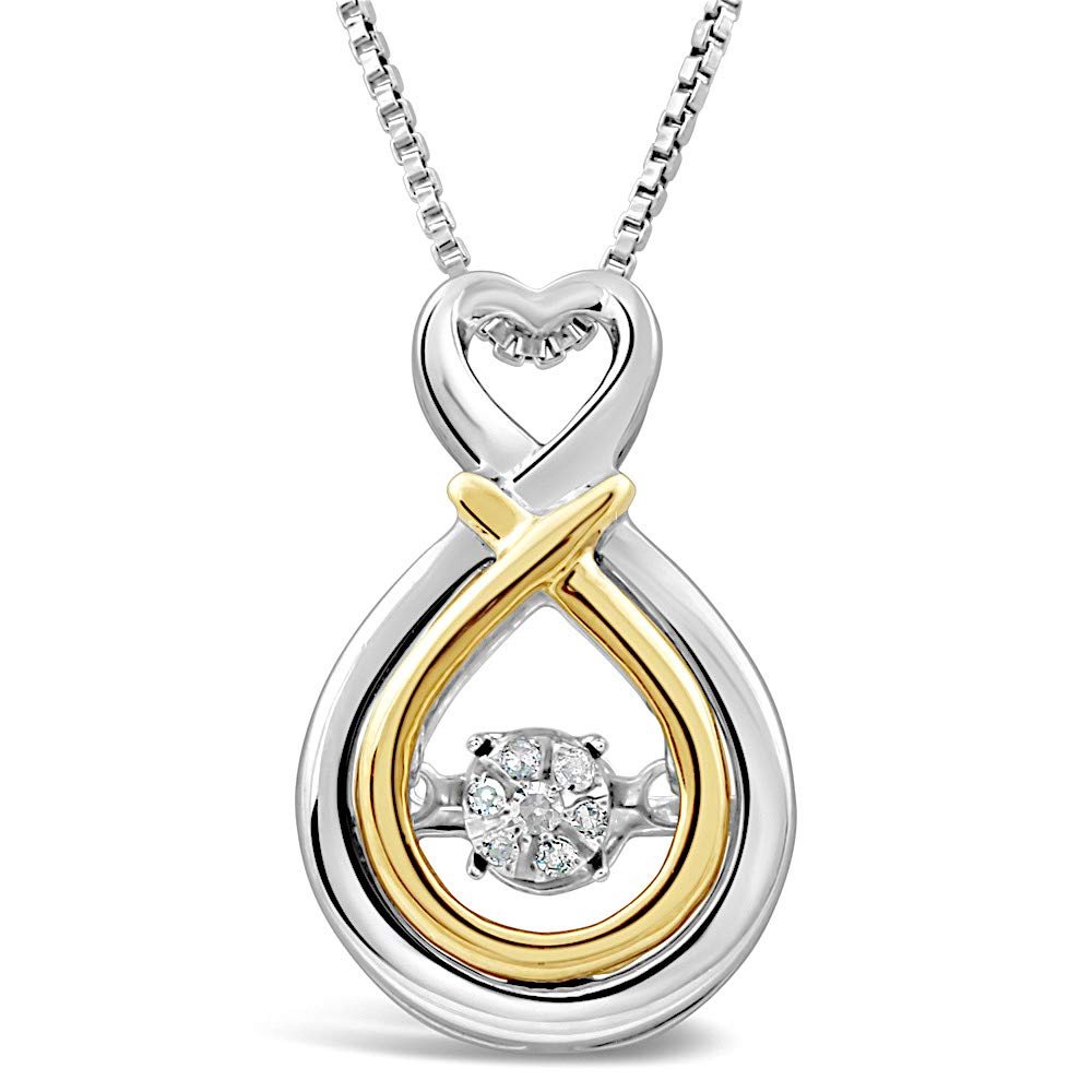 Diamond Necklace Dancing Diamond in Sterling Silver and 14k Yellow Gold - 18 Inch Box Chain